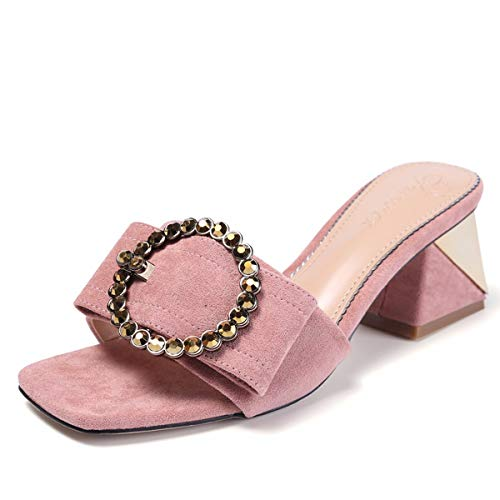 Cool Buckle Celebrity Toes Head Square High With Suede Fashion 6Cm Black Girl Summer Slippers Heels Coarse KPHY Belt vqnwZRBvt