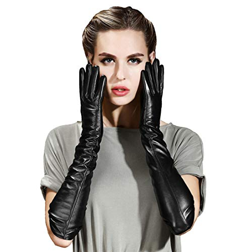Vocono Womens Touchscreen Lambskin Leather Opera Long Gloves Evening Dress Driving Gloves (L) ()