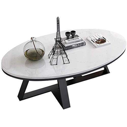 Mesa auxiliar Elegante marmol mesas auxiliares, Ocio te Mesa de cafe, sofa Oval Escritorio del Ordenador portatil con Base de Metal for Sala de Estar Oficina Balcon, 80 x 50 x 45 cm