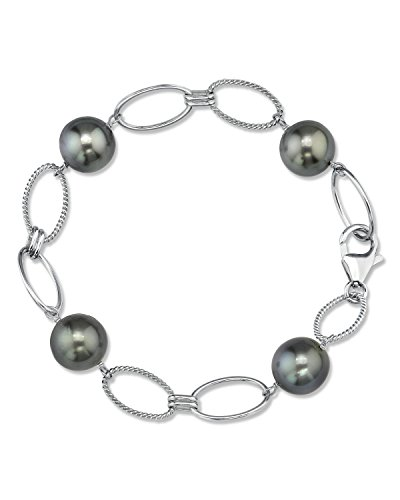 Sterling Silver Tahitian South Sea Cultured Pearl Link Bracelet - AAA (Sterling Silver Tahitian Pearl Bracelet)