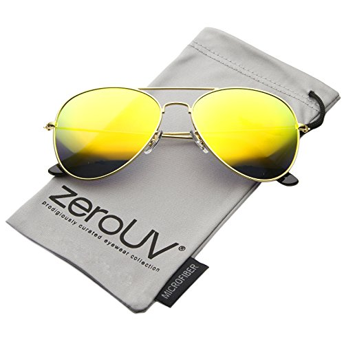 Premium Flash Mirror Lens Aviator Sunglasses (Nickel Plated Metal Frame) (Silver/Silver Mirror) (Nickel Silver Sunglass)