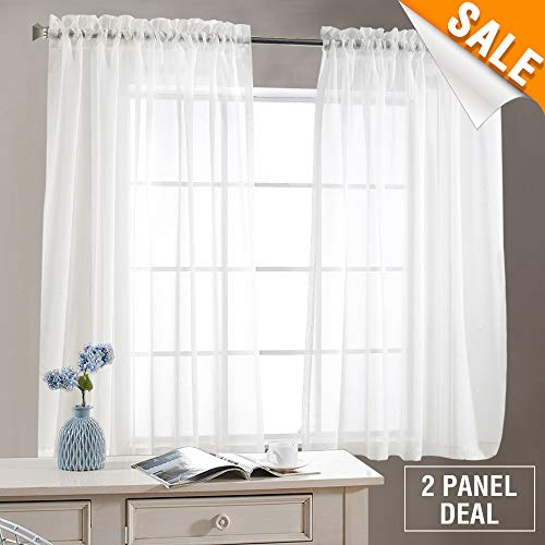 White Sheer Curtains for Living Room 63 Inch Length Rod Pocket Voile Curtain Panels for Bedroom Window Sold in Pairs