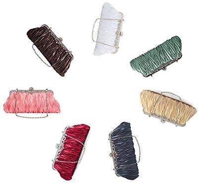 Pulama Elegant Envelope Clutch Satin Purse Wallet with Vintage Decoration (two chains, 7 colors)