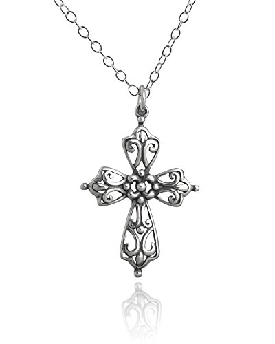 Sterling Silver Filigree Scroll Detailed Cross Pendant Necklace, 18