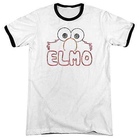 Sesame Street Elmo Letters Mens Adult Heather Ringer Shirt White/Black Xl - Elmos Letter