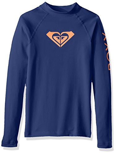 Roxy Big Girls' Whole Hearted Long Sleeve Rashguard, Blue Depths, 14 Roxy Apparel