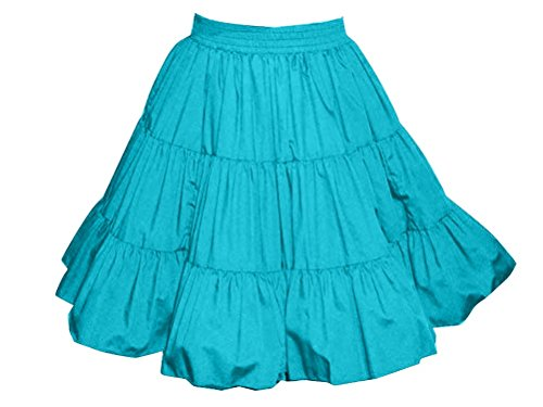 3-Tier Solid Turquoise Western Style Square Dance Skirt XL