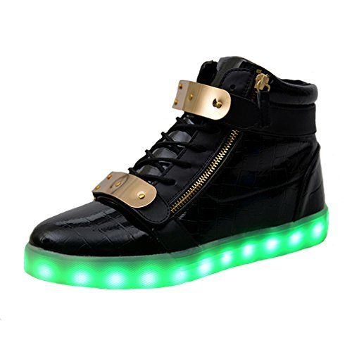 SAGUARO® 7 Farbe USB Aufladen LED Leuchtend Sport Schuhe Sportschuhe Sneaker Turnschuhe für Unisex-Kinder Jungen Mädchen, Schwarz, 31