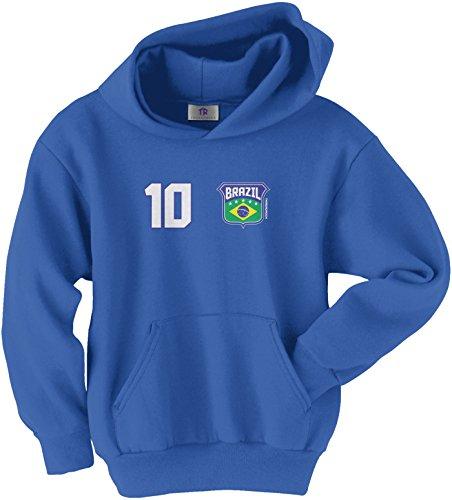 Threadrock Big Boys' Brazil Shield & Number Youth Hoodie Sweatshirt M Royal Blue