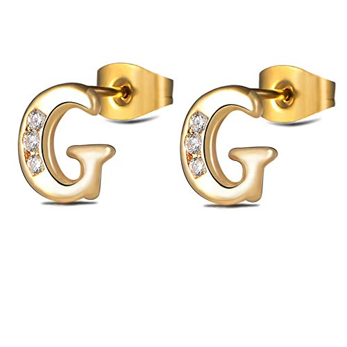 - Hypoallergenic Initial Letter G Studs Earrings for Women Girls 316L Stainless Steel Alphabet for Sensitive Ears Tiny Nickel Free Jewelry (Gold G)