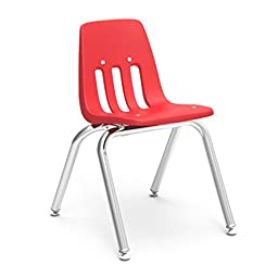 Virco Student Chair, Red, Soft Plastic Shell, 14\