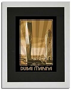 Dubai Marina- Sepia F02-nm (a4) - Framed