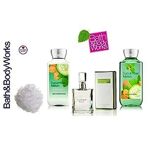 Bath and Body Works Cucumber Melon Gift Set Eau de Toilette ~ Body Lotion ~ Shower Gel & Shower Sponge - Signature Collection