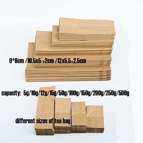 Xiaogongju 100Pcs/Lot 12G/15G/20G/30G/50G/100G Kraft Paper Brown Silver Foil Organ Bag Pollen Tea Storage Seal Pockets Cotton Packaging Bag Kraft Paper Color 200g Bag 28x10cm 5cm