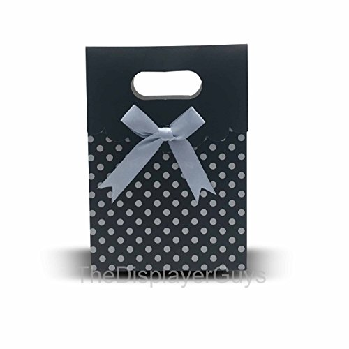The Display Guys 12 pcs Dozen Paper Gift Bags Box Tote Bow Bowknot Attached for Holiday Wedding Graduation Party Favor Presents (6 1/4x4 3/4x2 1/2 inches, Black with Gray Dots)