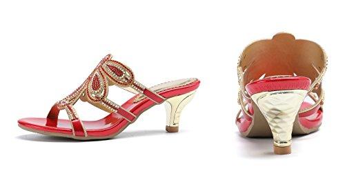 Honeystore Neuheiten Funkelnde Glitzer Blumen Quadrat Absatz Pantoffel Sandalen Slingpumps mit Strass Kristall Schuhe ZX-T005 Rot