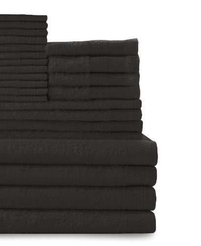 Baltic Linen Company Multi Count 100-Percent Cotton Complete 24-Piece Towel Set, Black
