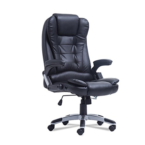 Ergonomic Office Massage Chair, High Back Desk Chair with Adjustable Height, Ergonomic PU Leather Computer Gaming Chair (Black)