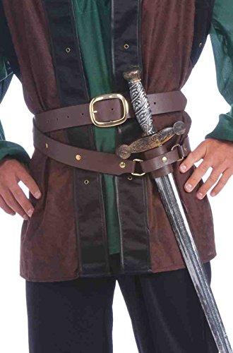 Forum Novelties Men's Medieval Dbl Wrap Belt/Scabard, Brown, Standard -