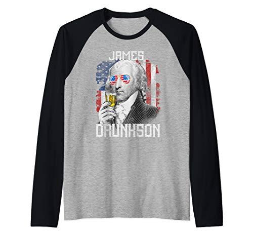 (James Madison 4th of July Men Patriotic James Drunkson Gift  Raglan Baseball Tee)