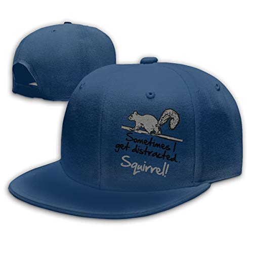 Good Wish Fashion Cool Sometimes I Get Distracted Funny Squirrel Unisex Flat Baseball Cap for Outdoor or Indoor Navy ()