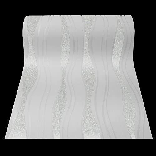 13191-20 1,87€//1qm 1 Rolle hochwertige Vlies Tapete Retro-Welle weiss metallic