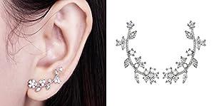 Suyi Needle Elegant Cubic Zircon Flower Branch Stud Earrings