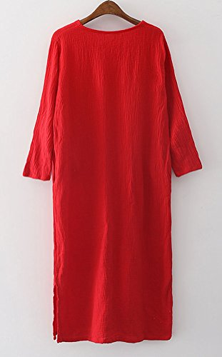 Linge De Coton Simples Femmes Soojun Robes Midi Avec Des Poches Rouges