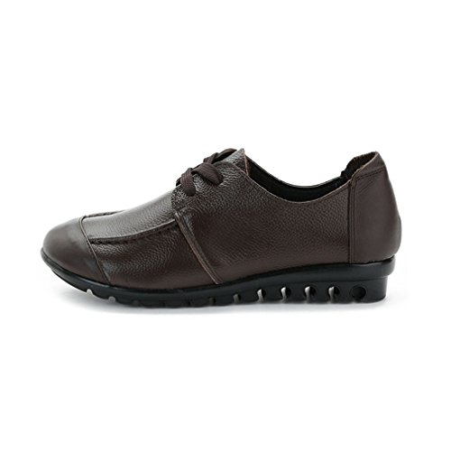 Giy Donna Casual Mocassini Mocassini Appartamenti Comfort Lace Up Classico Abito Walking Penny Scarpe Mocassino Marrone