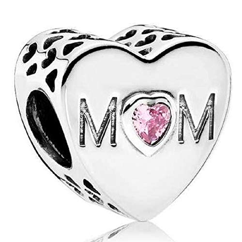 DH Love fit Pandora Charms Bracelet Mom Mother Heart Charm for Mother's Day Pink CZ (Silver) -