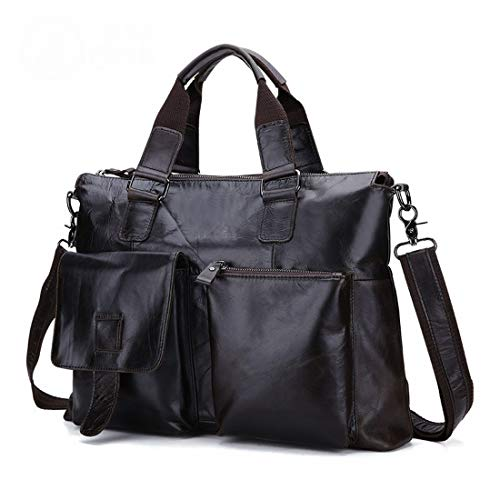 Da In 13 Jsfnngdv color Tracolla Dark Brown Pelle Uomo A Brown Pollici Con Borsa Per Laptop YBqC8