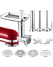 Food Meat Grinder Attachment Compatible for KitchenAid Stand Mixers and Cuisinart Stand Mixers SM-50 Series Included Sausage Stuffer/Grinding Plates/Grinding Blade Accessory