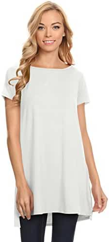 Womens Solid Bamboo Side-Slit Short Sleeve and Sleeveless Round Neck Tunic Top