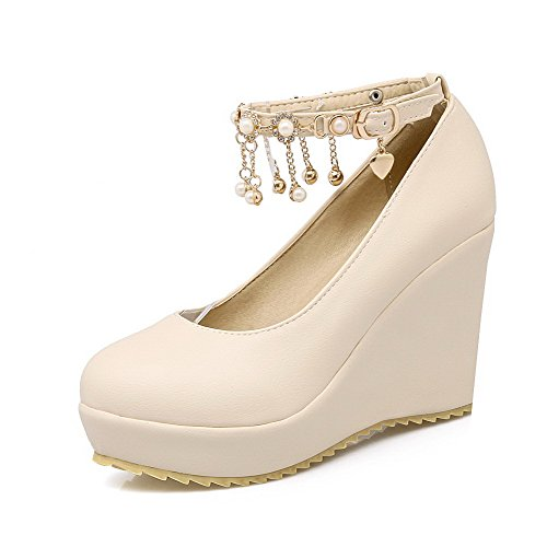 Buckle High Toe Shoes Beige Round Solid PU Women's Pumps VogueZone009 Closed Heels xI1ppO
