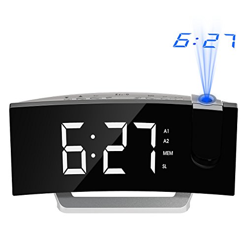 mpow gen 3 projection alarm clock curved screen projection clocks with 5 39 39 dimmer led display. Black Bedroom Furniture Sets. Home Design Ideas