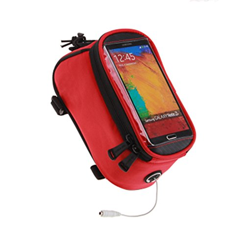 JOY COLORFUL Bicycle Bags Bicycle Front Tube Frame Cycling Packages 4.2,4.8,5.5 inches Touch Screen Mobile Phone Bags Professional Bicycle Accessories (Red, Small)