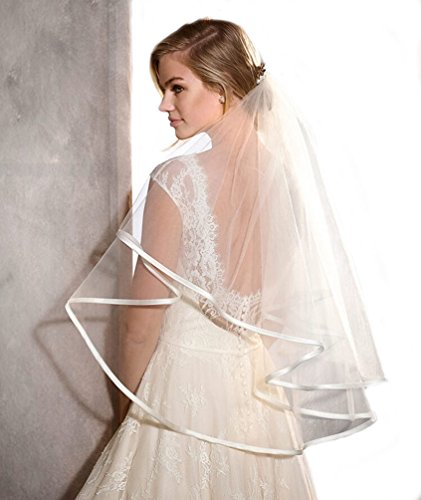 POP DESIGNER Two Tier Satin Veil with Ribbon Trim and Blusher Bridal Veil Ivory Elbow 204 (Ivory Satin Trim)