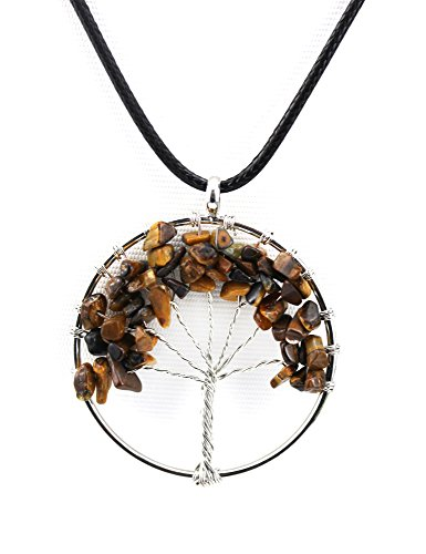 Tiger Eye Amulet (Deyue Natural Tiger Eye Handmade Amulet Tree of Life Daur Healing Crystal Stone Pendant Necklace—Gemstone Charms, Mother's Day Gifts)