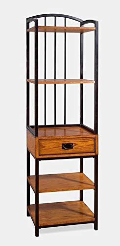 BUkk Metal and Wood Bookcase - Bookcase with 5 Shelves and Drawer - Distressed Oak