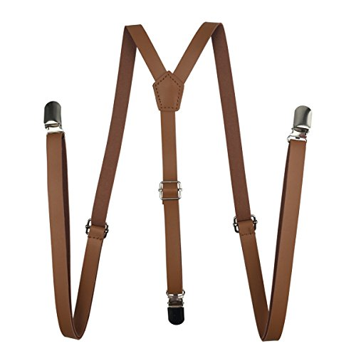 Leather Suspenders, Zonestar 1.5cm Universal Y-Shape Strap with Metal Clips