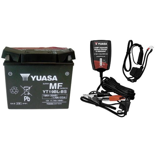 Yuasa (YUAM6219BL) YT19BL-BS Sealed Battery and Automatic Charger Bundle