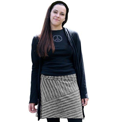 Skirt Bias Cotton Cut (Maggie's Organics Bias Cut Skirt (Medium, Black Stripe))