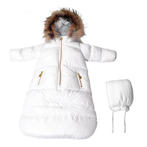 Fur Hoodie Cream (BEBEBON Baby Winter Bunting Snowsuit Fur Hoodie Unisex Newborn -Few Months White)