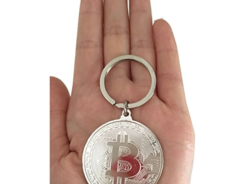 Bitcoin Coin Keychain Metal Golden Keychain 2Pcs Set Includes Silver and Gold Coin Keychain Gold Plated Real Crypto Gift Set Collectors Bitcoin Token for Physical Crypto Fans Nano Ledger