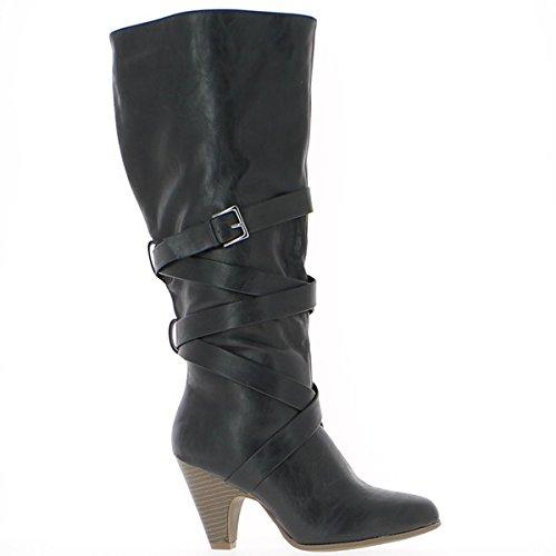 Bottes femme noires à talons de 8 cm