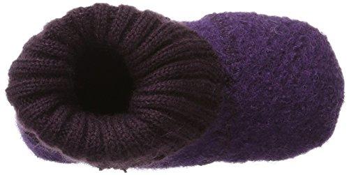 Melton Baby Mädchen Wollhausschuhe Hüttenschuhe Wolle Krabbelschuhe Violett (Dark Purple)