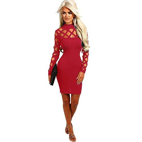 [해외]kemilove 여성 초커 하이 넥 Bodycon 여성 세 소매 미니 드레스 사이즈 / kemilove Womens Choker High Neck Bodycon Ladies Caged Sleeves Mini Dress Size