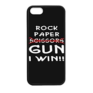 Slim And Stylish Funny Quotes Rock Paper Scissors Gun I Win Pattern iPhone 5 5S TPU(Laser Technology) Case Cover for White And Black