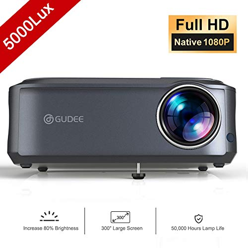 Video Projector, GuDee 5000 Lux Native 1080P Full HD HDMI Office Projector for Laptop Business PowerPoint Presentation and Home Theater, Compatible with iPhone/Android/USB/HDMI (Led Hd Projector 1080p)