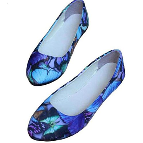 42 Kenavinca Women Comfort Slip Toe Women's Casual 35 Shoes Sizes 6 Big Fashion Pointed On Pu Blue Shoes Leather Flats Flowers 2018 Print qRwFqfp